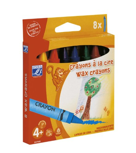 Lefranc Bourgeois - Maxi crayons à la cire pour enfants - Boîte de 8 x 14mm