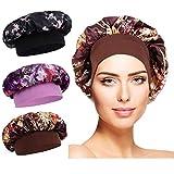 Cuffia seta capelli ricci-Schlafhaube Seide Elastic Wide Band Hut Nachtschlaf Kopfbedeckung für Mädchen Schlaf Haarpflege (Nero + Caffè + Viola)