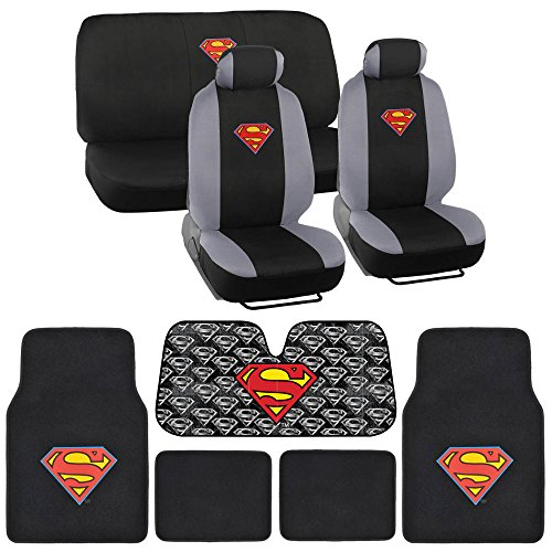 BDK Superman Seat Cover, Carpet Floor Mat and Sun Shade - Warner Brothers 14 Piece Full Interior Protection Auto Accessories