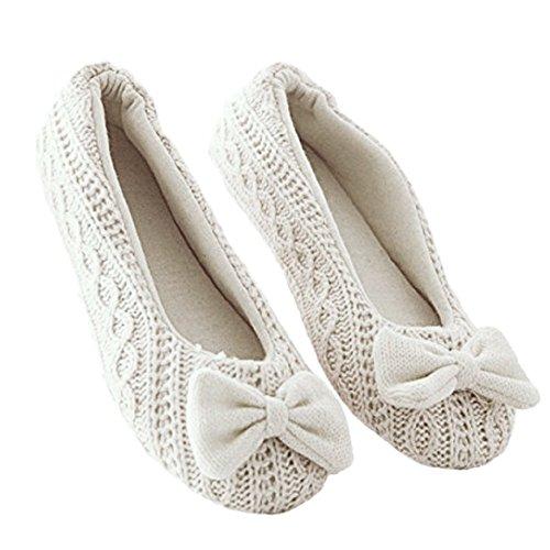 TININNA Autunnali e Invernali Caldo Carino Bowkno comode Scarpe di Lana Casa Scarpe Scarpe per confinamento Yoga Scarpe per Le Donne Ragazze Beige L