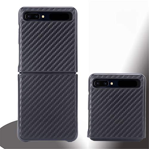 SHEAWA mobiele telefoonhoesje f7000 opvouwbaar scherm Holster beschermhoes voor Samsung Galaxy Z Flip Accessory, Red Gold, Koolstofvezel Zwart