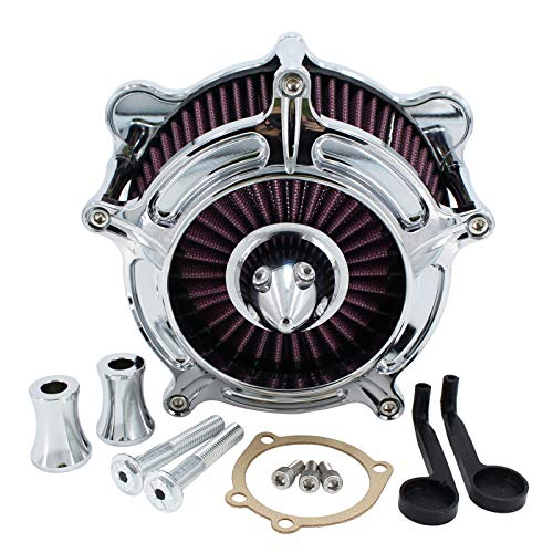 Motorcycle Air Filter Turbine CNC Air Cleaner Intake System Kit For...