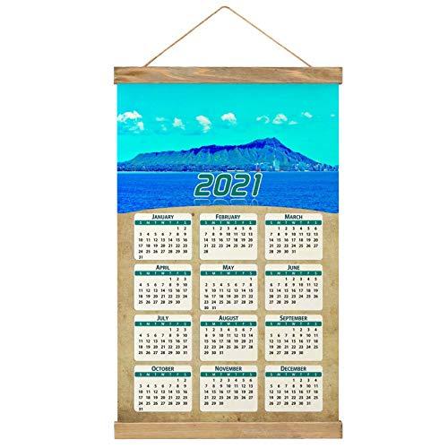 Usa America Diamond Head Honolulu Oahu Hawaii Wall Calendar 2021 12 months Canvas Wood 20.4' x 13.1' (GL-USA-6308)