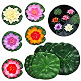 SwirlColor Flores flotantes Artificial Lotus Blossom Foam Flotante Lotus Leaves Estanque Decor-5 Piezas Lotus Flotante y 10 Piezas Hojas de Espuma