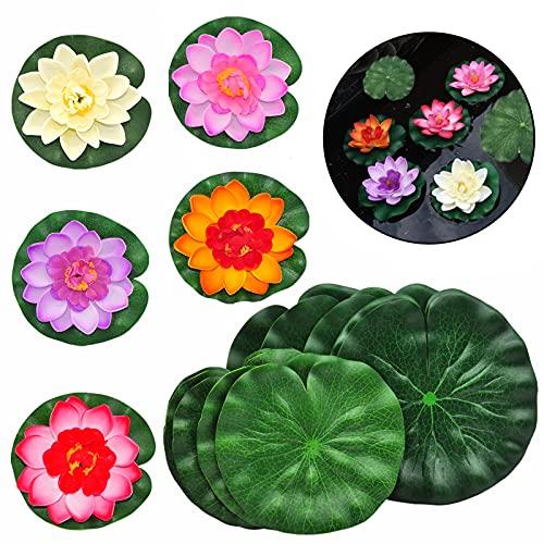 SwirlColor Schwimmende Blumen, künstliche Lotusblüte, schwimmende Lotusblätter, Teichdekoration, 5 Stück schwimmende Lotusblüten und 10 Stück Schaumstoffblätter