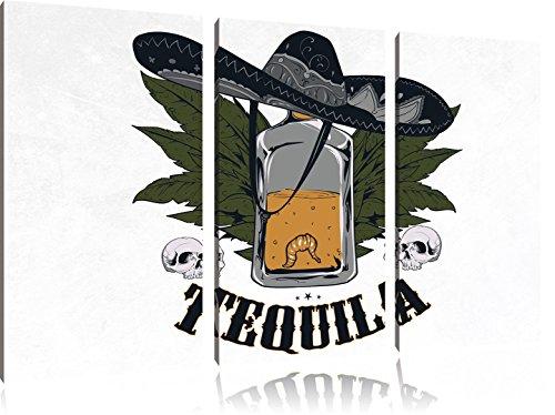 Worm Tequila LightFoto Canvas 3 deel | Maat: 120x80 cm | Wanddecoraties | Kunstdruk | Volledig gemonteerd