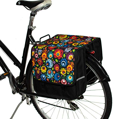 BikyBag Classic L - Bicycle Double Panniers Bag Fashion Cycle Bike Women's - Men's (Folklore Flowers)