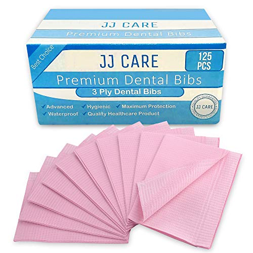 JJ Care Premium Dental Bibs, Disposable 3 Ply Dental Patient Bib, Waterproof Tattoo Piercing, Adult Bibs, Dental Bib,Tray Cover, Waterproof Napkins & Dental Napkin (size 13'' x 18'') Pink, Pack of 125