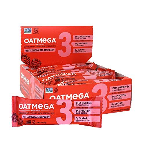 Oatmega Protein Bars, White Chocolate Raspberry, Healthy Snacks Made...