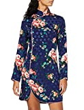 Marca Amazon - find. Vestido Corto de Flores Mujer, Multicolor (Multicolour Blue Floral), 38, Label: S