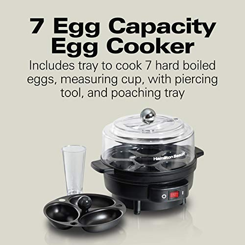 Hamilton Beach 25500 Electric Egg and Poacher for Soft, Hard Boiled or Poached with Ready Timer, Holds 7, Black
