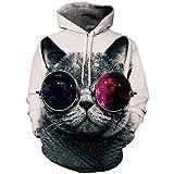 Zaima Sudaderas con Capucha Unisex 3D Galaxy Animal Cat Pattern ImpresióN Digital Sudaderas con Capucha Jerseys con Bolsillos SuéTer De Talla Grande Hombres S-5XL