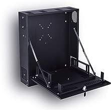 Kenuco Heavy Duty 16 Gauge Steel DVR Security Lockbox with Fan and Swing Open Top (18'' x 18'' x 5'' Black)
