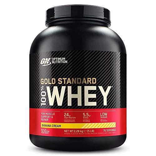 Optimum Nutrition ON Gold Standard 100% Whey Proteína en Polvo, Glutamina y Aminoácidos Naturales, BCAA, Crema de Plátano, 76 Porciones, 2.28kg, Embalaje Puede Variar ⭐