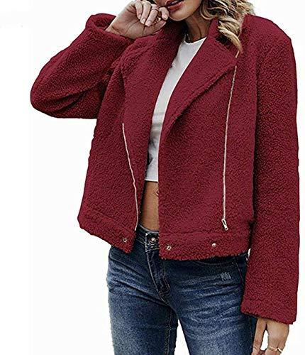 DamonRHalpern Faux Fur Fluffy Fleece Warm-up Outerwear, Womens Ladies Plush Jacket Parka Cardigan Winter Warm Tops Zipper Coat Overcoat