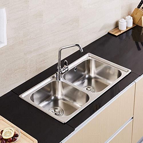 Pkfinrd roestvrij staal geborsteld onderstel dubbele kom handgemaakte keuken wastafel voor keuken 760mm*430mm*185mm 11.22