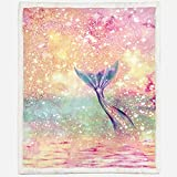 Irisbell Mermaid Sherpa Fleece Blanket Super Comfy Warm Fluffy Plush Sofa Couch Bed Travel Camping Throw Blanket for Adult and Kids Bedspread Home Decor (Mermaid, 60'' x 80'')