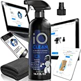 iO CLEAN Screen Cleaner Spray (16.9 oz) – Best for LCD LED TVs, Smartphones, iPads, Laptops, Touchscreens, Monitors, Other Electronic Screens – Microfiber Cloth Included – Premium Shine
