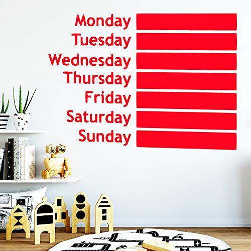 JXMN Vinilo Pizarra Semana Pegatinas de decoración geométrica Impermeable decoración del hogar Pegatinas de Pared extraíbles decoración del hogar 116x160cm