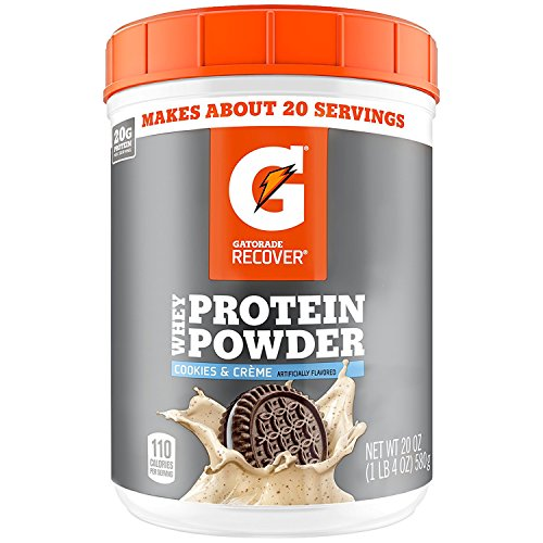 Gatorade Whey Protein Powder, Cookies & Crème, 22.4 Ounce (20 servings per canister, 20 grams of protein per serving)