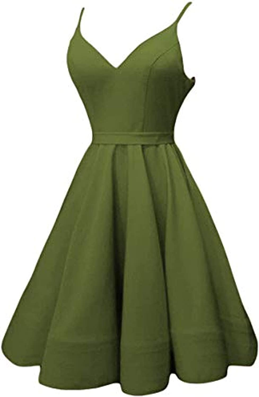 Marirobe Women's V Neck Strap Homecoming Dress Satin Short Party Dress