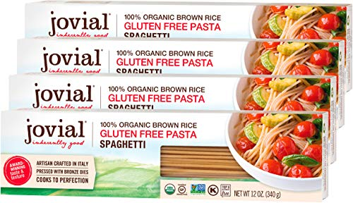 Jovial Spaghetti Gluten-Free Pasta | Whole Grain Brown Rice Spaghetti Pasta | Non-GMO | Lower Carb | Kosher | USDA Certified Organic | Made in Italy | 12 oz (4 Pack)