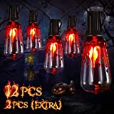 YUNLIGHTS Halloween Lights - 15.7FT Halloween Lights String with 12PCS ST40 LED Bulbs, Hanging Halloween Lights String IP45 Waterproof for Patio, Backyard, Halloween, Party Decoration