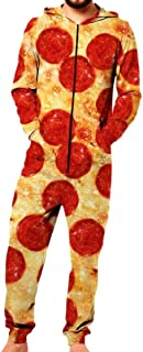 M&S&W Men's Adult Hood Costume Unisex Rompers Pizza Pepperoni Zipper Pajamas