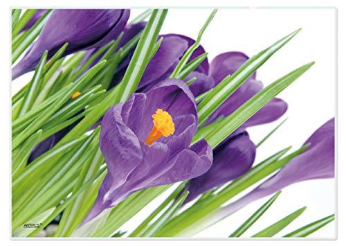 Zestaw podkładek na stół zmywalne botki wiosenne: krokusy firmy ARTIPICS 4-częściowy zestaw z tworzywa sztucznego 42 x 30 cm