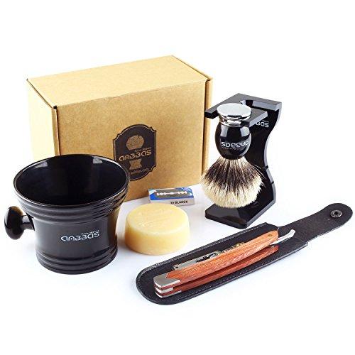7in1 Rasierset Luxus Herren Geschenk Set, Anbbas Rasierpinsel Reines Dachshaar Silberspitz Shaving Brush Badger Rasiermesser und Ständer Rasurset für Die Klassische Nassrasur