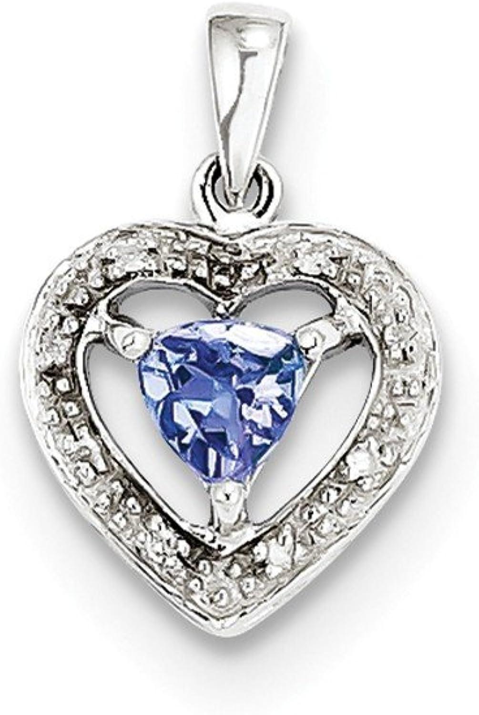 Tanzanite & Diamond Heart Pendant in Sterling Silver  Polished Finish  Great