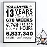 WATINC You Have Been Loved for 13 Years Poster Unframed Art Prints 13th Birthday...