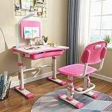 Escritorio infantil de altura ajustable, inclinación ajustable de muebles infantiles, escritorio con sillas, escritorio con cajones azul, gris, rosa (rosa)