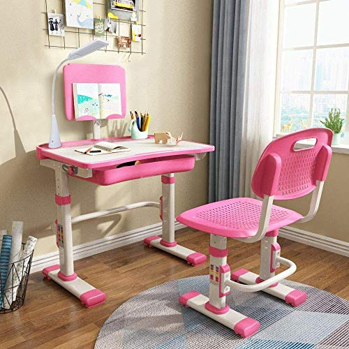 LVYUAN Height Adjustable Children#039s Desk and Chair Set Spacious Storage Drawer with Adjustable Tilted Desktop Bookstand Touch Led Lamp for School Students,Kids Interactive Workstation Pink