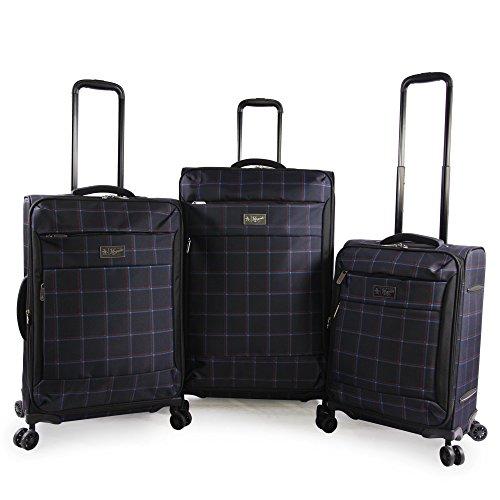 Original Penguin Original 3pc Expandable Suitcase Set with Spinner Wheels, Navy Plaid, One Size