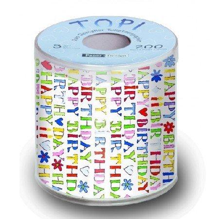 Paper + Design - TOPI - Toilettenpapier - bedruckt - Happy Birthday / Herzlichen Glückwunsch / Geburtstag