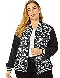 Agnes Orinda Women's Plus Size Jackets Contrast Color Lightweight Floral Bomber Jacket 1X Black