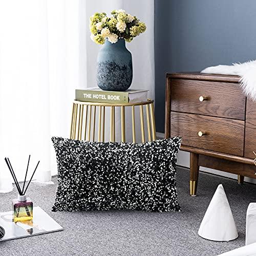 LIGICKY Luxury Series - Fundas de almohada con lentejuelas brillantes y rectangulares decorativas, para sofá, dormitorio, decoración de fiestas (30,5 x 50,8 cm), color plateado