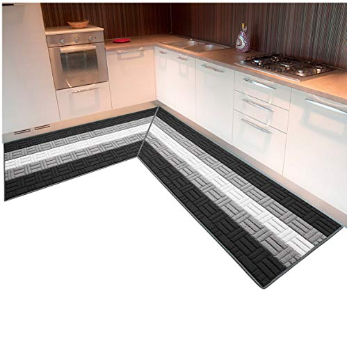 Tappeto cucina ANGOLARE SU MISURA bordato tessitura 3D retro antiscivolo contattare venditore per info mod.MIA angolare 10cm GRIGIO (G)