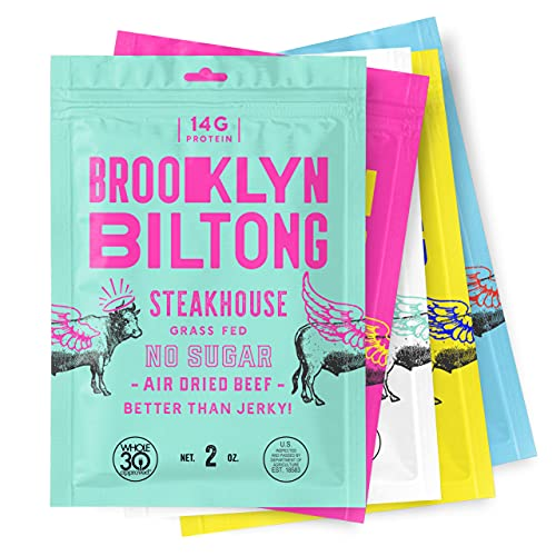 Brooklyn Biltong - Air Dried Grass Fed Beef Snack, South African Beef Jerky - Whole30 Approved, Paleo, Keto, Gluten Free, Sugar Free, - 2 oz. Bags, 5 Count (Variety Pack)