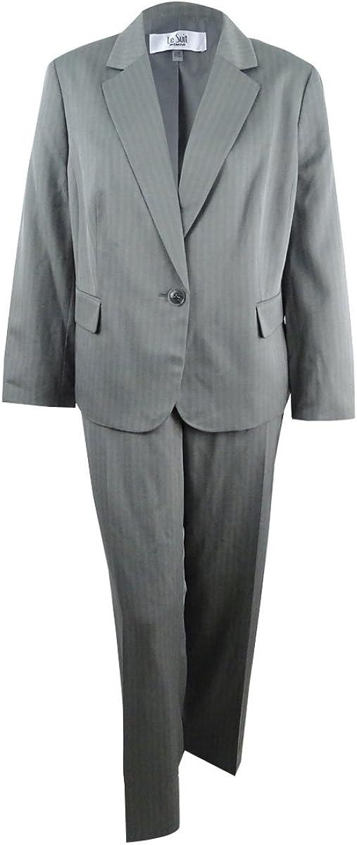 Le Suit Women's Plus Size One-Button Striped Pantsuit (14W, Light Stone) Gray