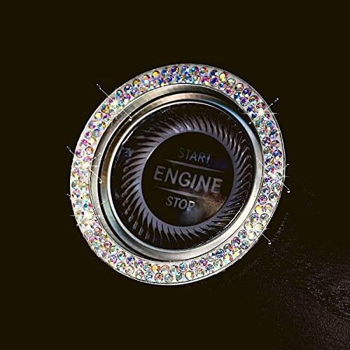 Rainbow Bright Bling Ring for Car Push Start Button Ring Accessories - New 2020 Style - Double Line Rhinestone Diamonds Easy Apply Sticker for More Bling Interior Car Decor Gifts for Women (Rainbow)