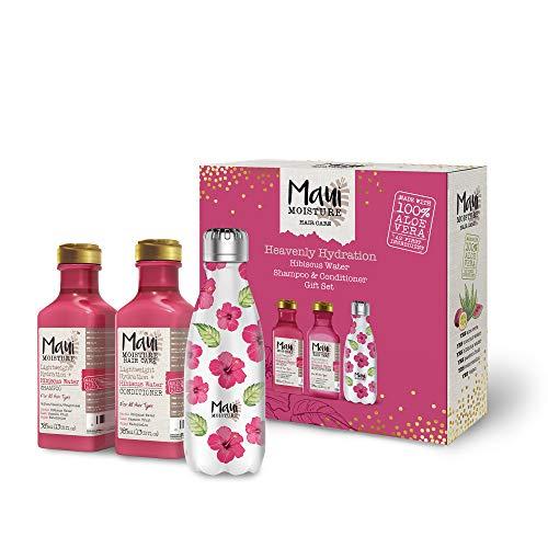 Maui Moisture Geschenkset Vegan Shampoo und Conditioner Set mit wiederverwendbarer Wasserflasche, Hibiskus & Aloe Vera