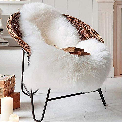 フェイクシープスキンラグ ムートンマット 洗える 人工ウールマット長毛 柔らか滑り止め付き高級感あるソファシートマットリビングルームラグ (60x90cm, ホワイト)