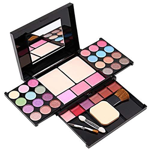 Lidschatten-Palette, Make-up-Palette mit 35 hellen Farben, matter und schimmernder Lippengloss, Rouge-Pinsel, Make-up, Lidschatten, Palette hochpigmentierter Kosmetik