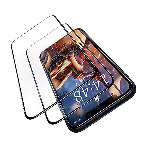 """AZONE Panzerglas iPhone 11 Panzerglas iPhone XR Militär Standard (9H Härte Full Screen Glas Schutzfolie 6.1"""") - Einfache Montage – Mit Positionierhilfe - Vollbild Schutzglas - 2 Stück"""