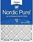 Nordic Pure 16x20x1 MERV 12 Pleated AC Furnace Air Filters, 16x20x1M12-6, 6 Pack