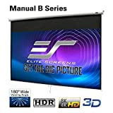 Elite Screens Manual B 100-INCH Manual Pull Down Projector Screen Diagonal 16:9 Diag 4K 8K 3D Ultra...