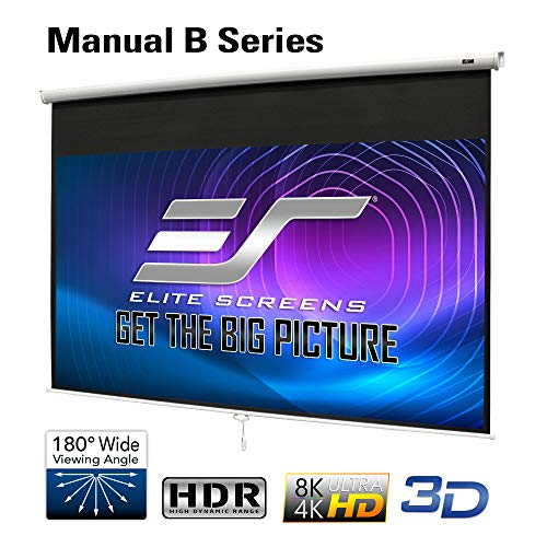 Elite Screens Manual B 100-INCH Manual Pull Down Projector Screen Diagonal 16:9 Diag 4K 8K 3D Ultra HDR HD Ready Home Theater Movie Theatre White...