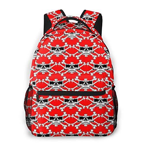Lawenp Mochila Unisex de Moda Mochila de Fondo Rojo con Calavera Mochila Ligera para portátil para Viajes Escolares Acampar al Aire Libre